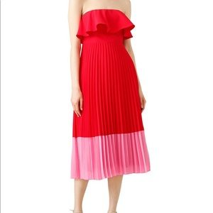 Aidan Mattox red pleated Tea Dress